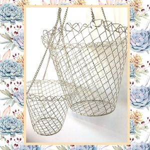 2 Vintage Shabby Chic Wire Hanging Planter Baskets